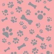 Papel de Parede Patinhas e Pets Cinza com Fundo Rosa