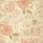 Papel Parede Floral Envelhecido Rosas e Tulipa