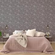 Papel Parede Geométrico Fendi Zara Silver Tons Escuros Cinza