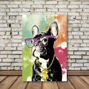 Placa Decorativa Cachorro de Óculos