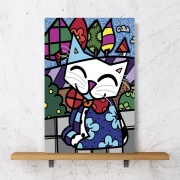 Placa Decorativa Gato Geométrico