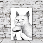 Placa Decorativa Gato Preto e Branco Bebendo Café