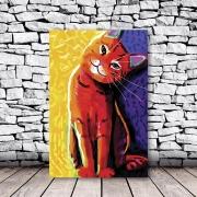 Placa Decorativa Gato Vermelho