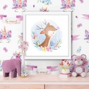 Quadro Decorativo Infantil Alce / Cervo Delicado No Fundo Lilás