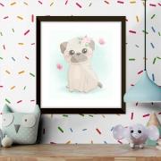 Quadro Decorativo Infantil Cachorro Desenho Com Borboletas
