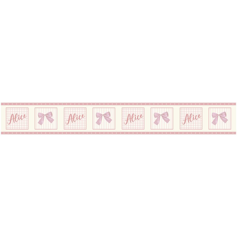Faixa Decorativa Baby Rosa com Coroa e Nome Personalizado