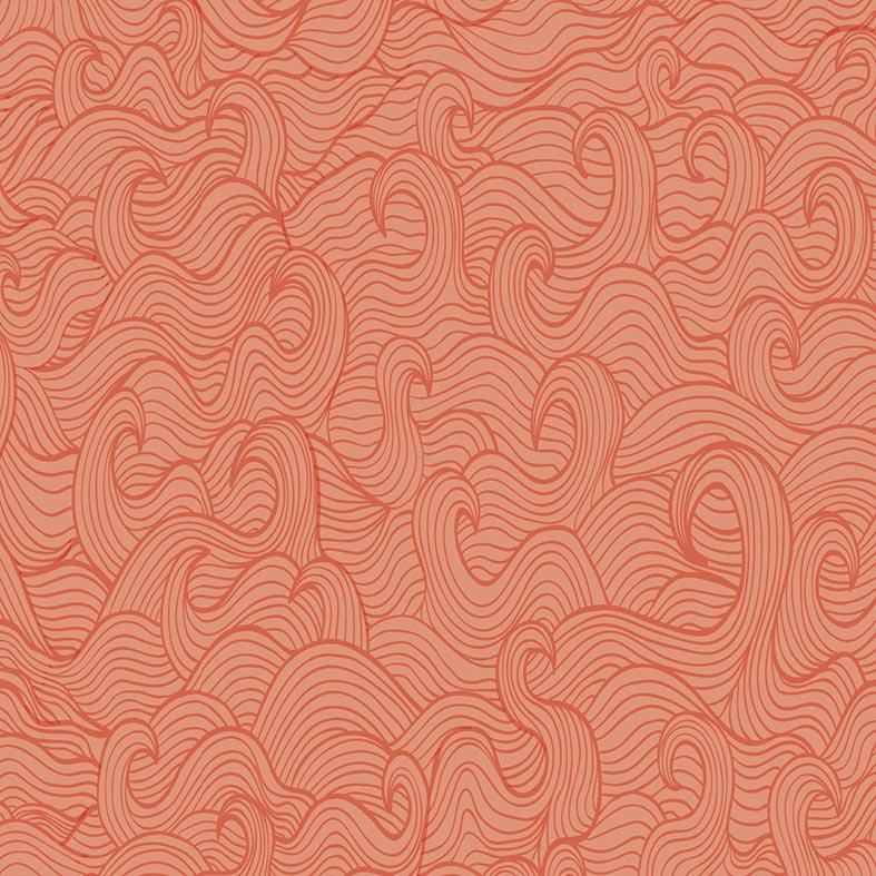Papel de Parede Abstrato Ondas Tons Laranja