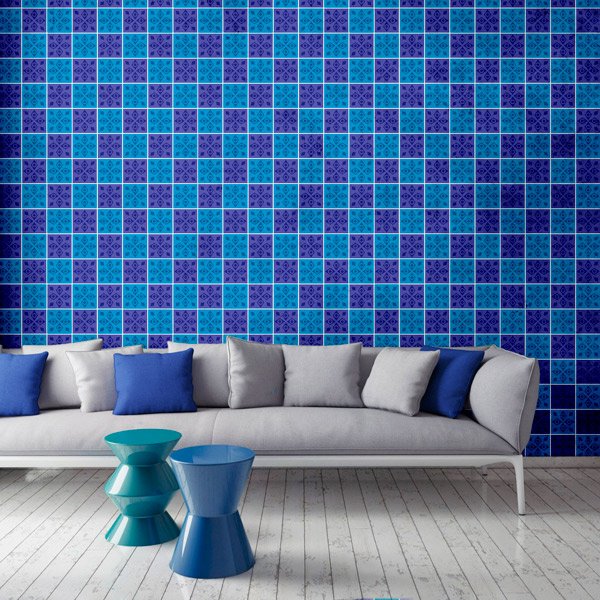 Papel de Parede Abstrato Quadrado Azul e Roxo