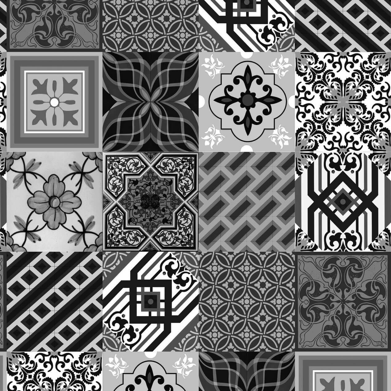 Papel de Parede Adesivo Azulejo Retrô Preto e Branco