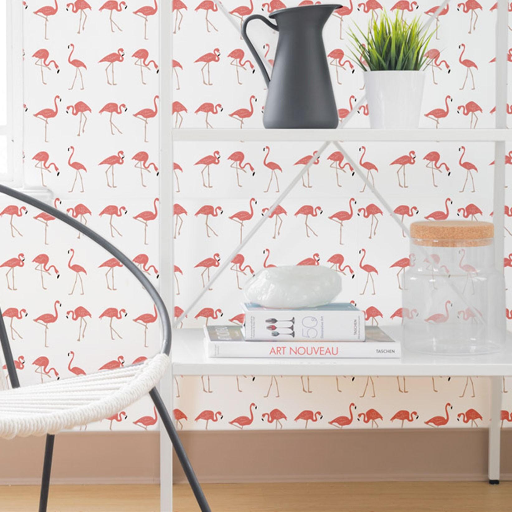 Papel de Parede Animais Flamingo-Rosado