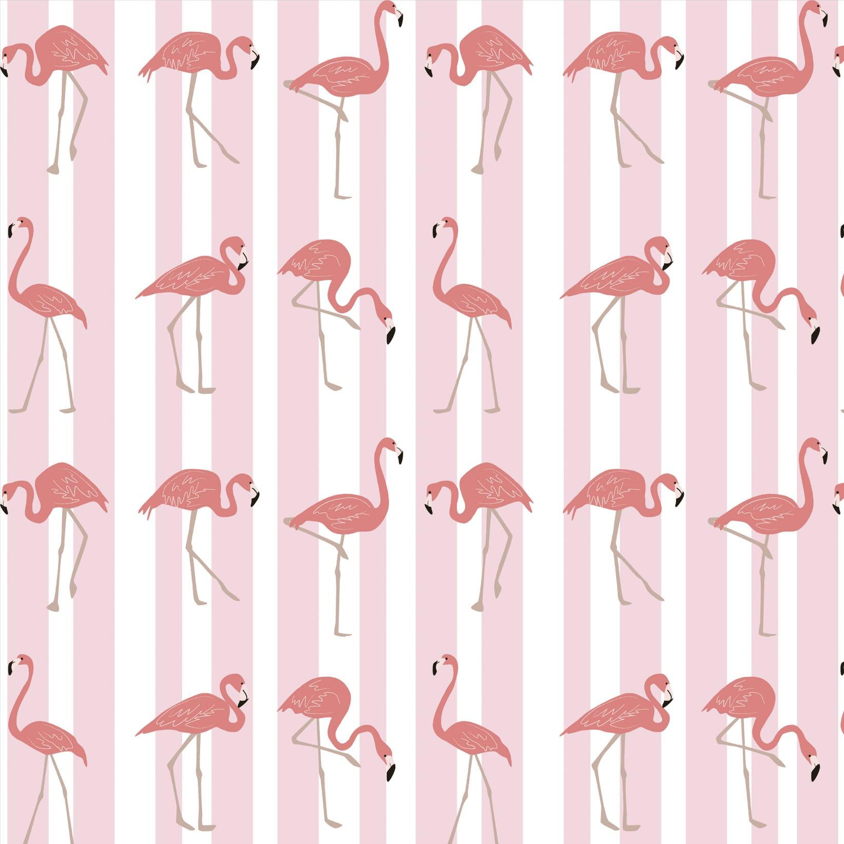 Papel de Parede Animais Flamingo Rosado Fundo com Listras Rosa e Branca