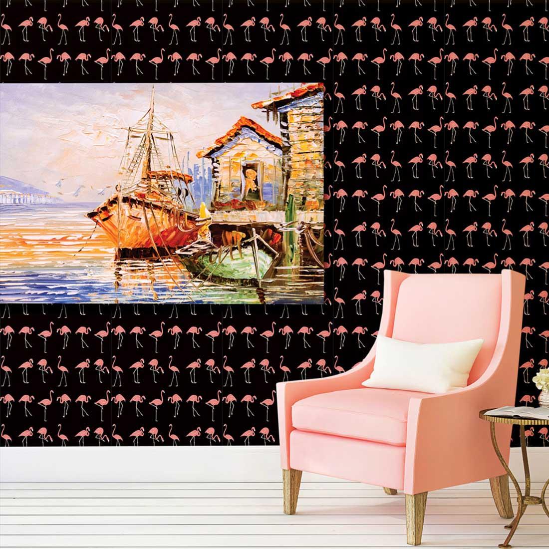 Papel de Parede Animais Flamingo Rosado Fundo Preto