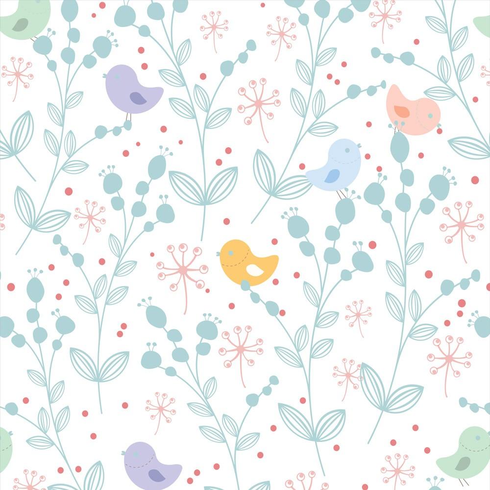 Papel de Parede Animais Pássaros e Florais