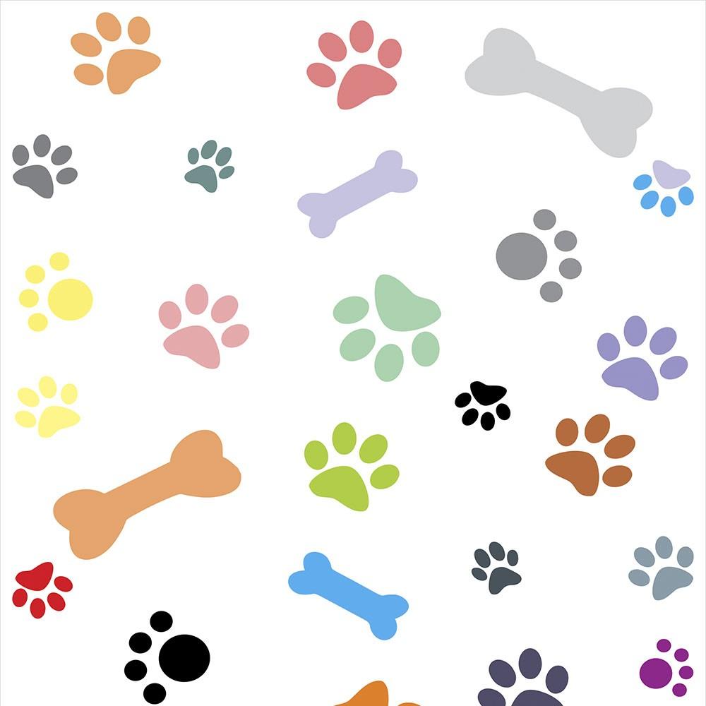 Papel de Parede Animais Patinhas E Ossinhos Coloridas