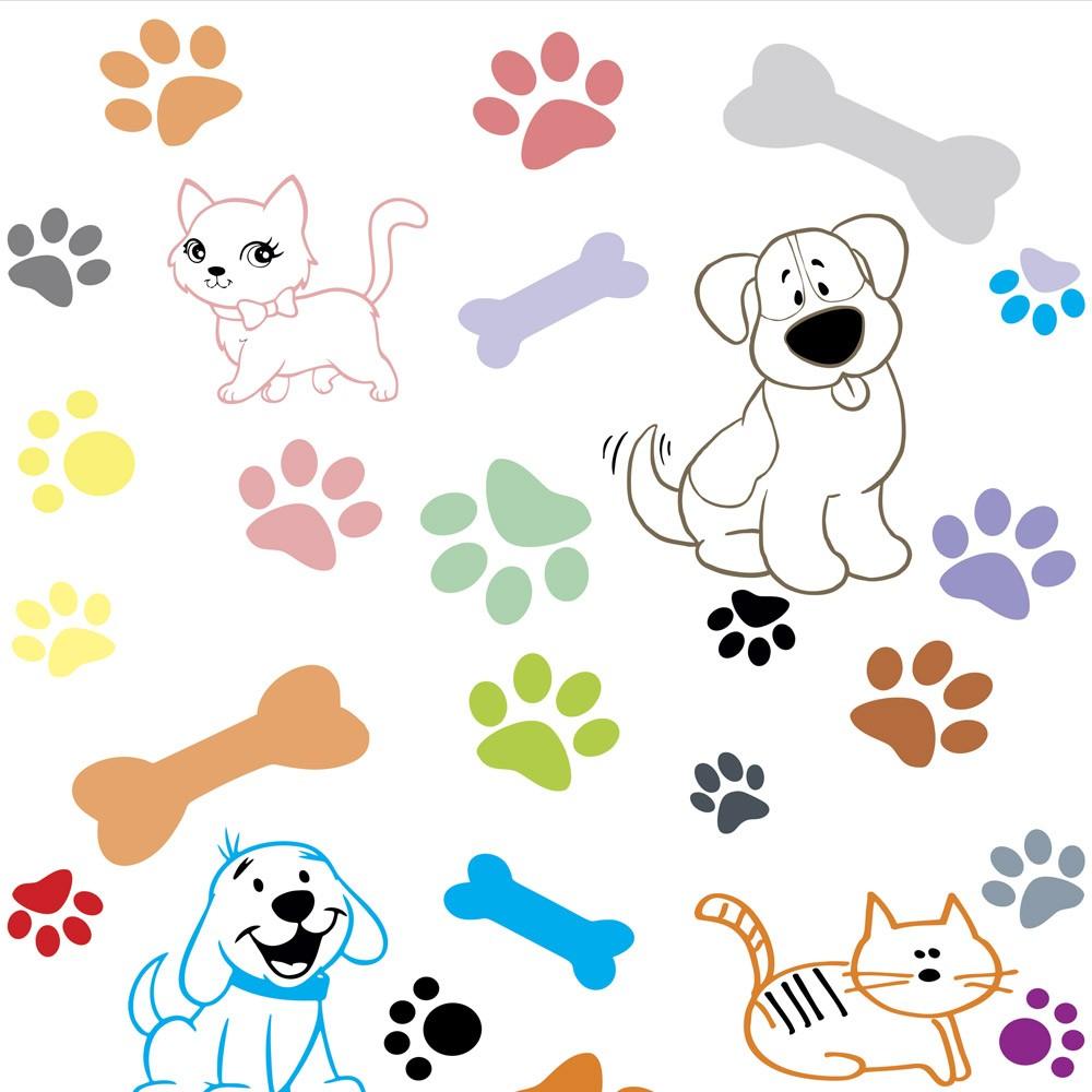 Papel de Parede Animais Patinhas e Pets Coloridos