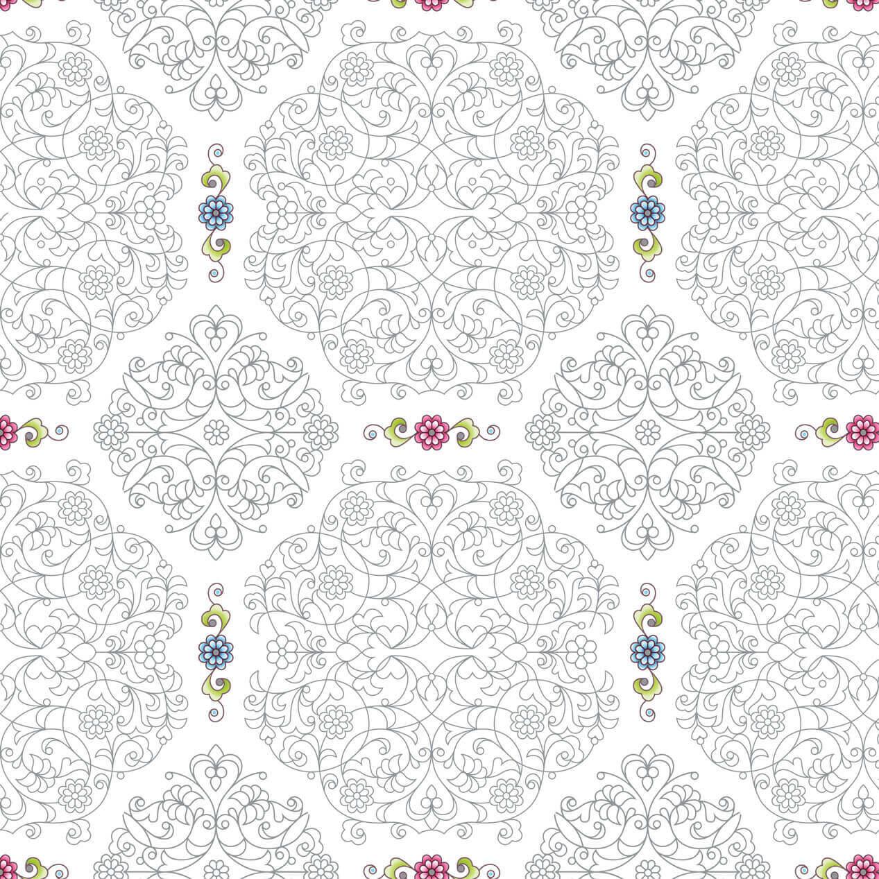 Papel de Parede Arabesco Azul Céu com Florais Fundo Branco