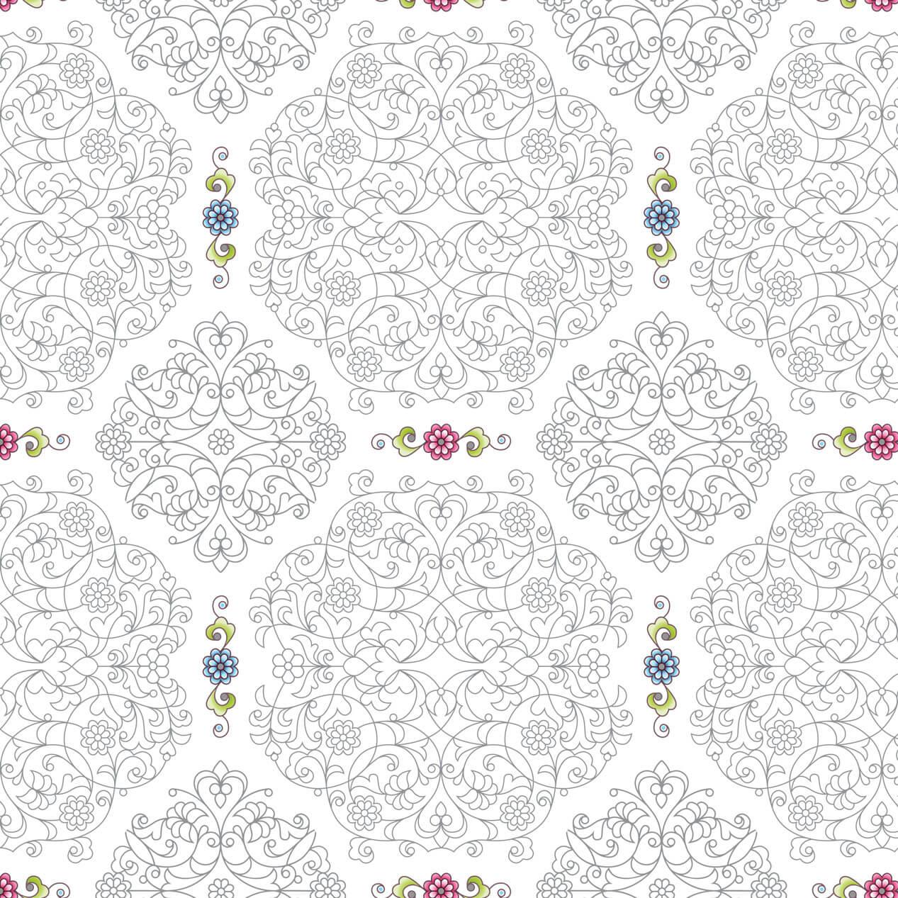 Papel de Parede Arabesco Cinza com Florais Fundo Branco