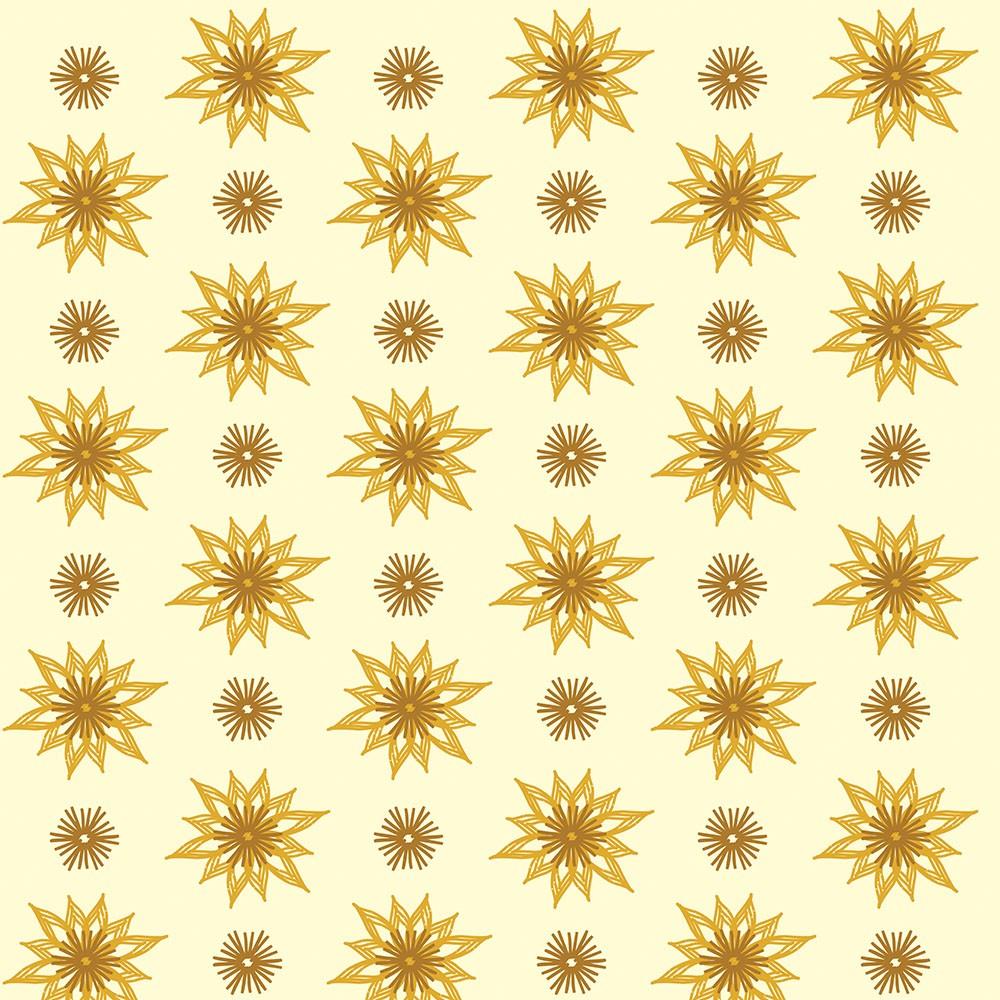 Papel de Parede Arabesco de Flores Sobre Amarelo