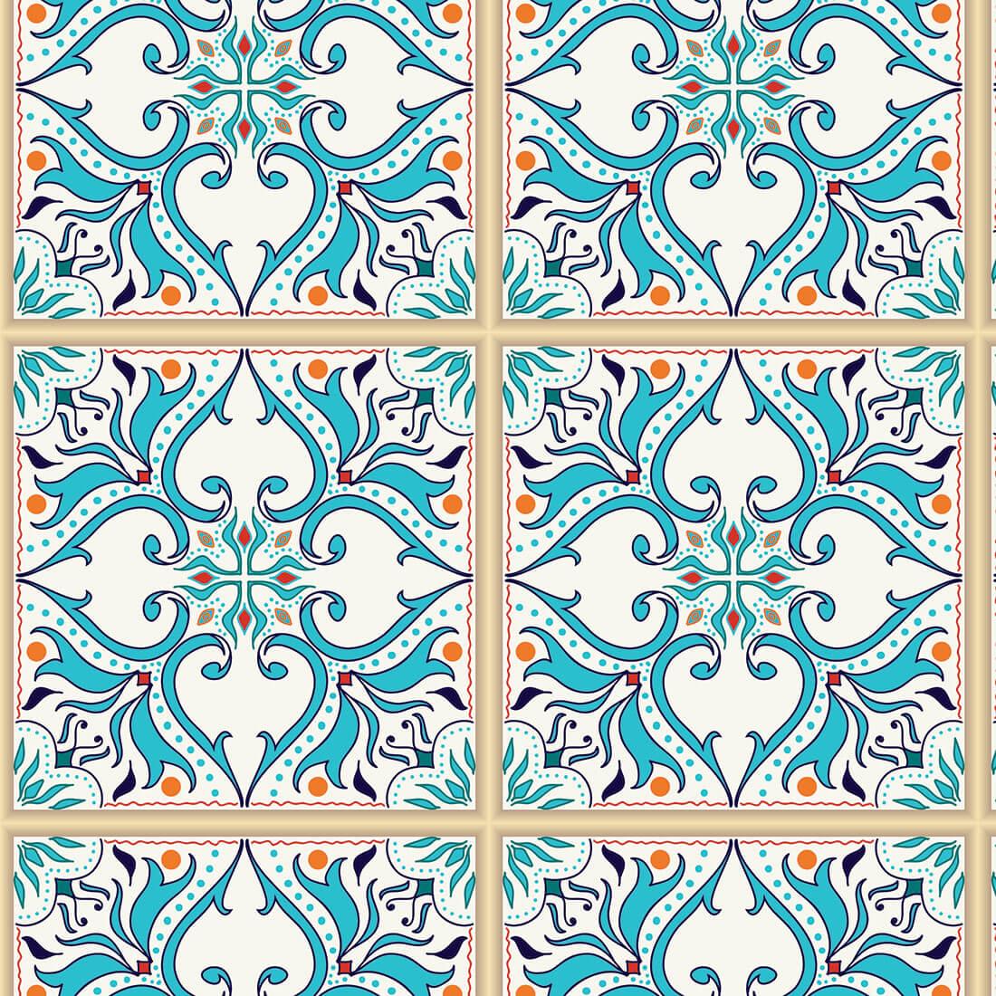 Papel de Parede Arabesco em Azulejo Português