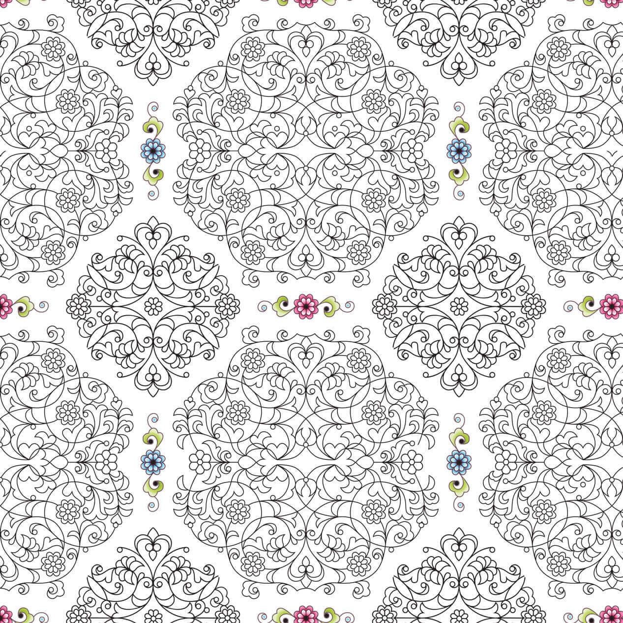 Papel de Parede Arabesco Florais Fundo Branco