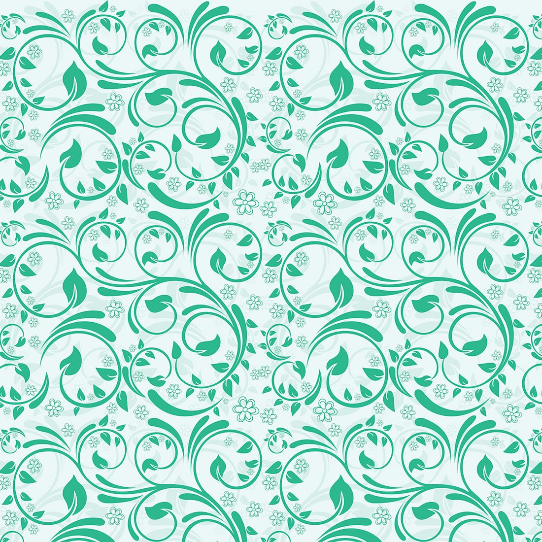 Papel de Parede Arabesco Floral Verde Água