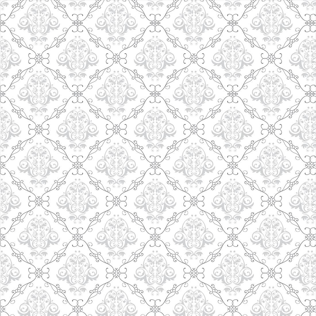 Papel de Parede Arabesco Jacquard Cinza Fino, Contornos Preto sobre Branco