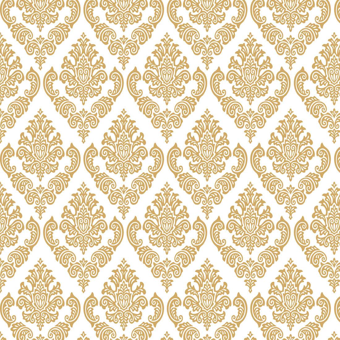 Papel de Parede Arabesco Jacquard Dourado Sobre Branco