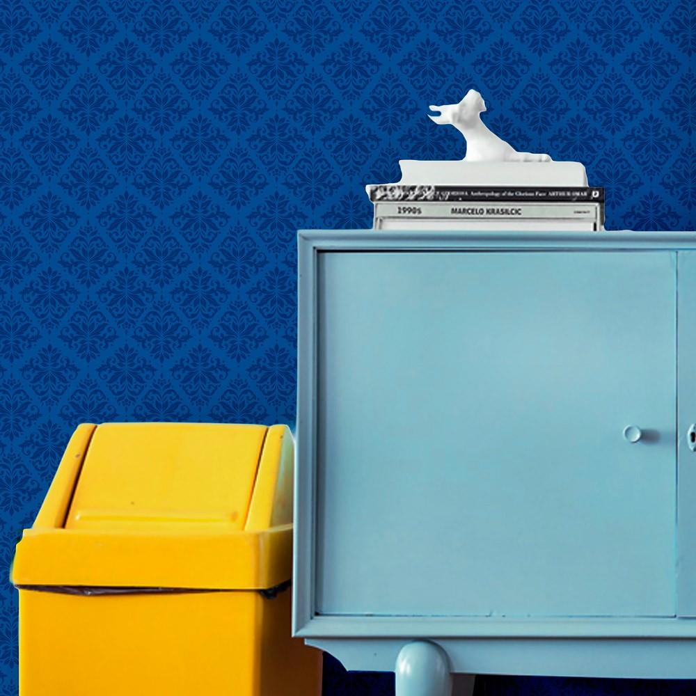Papel de Parede Arabesco Jacquard em Tons de Azul