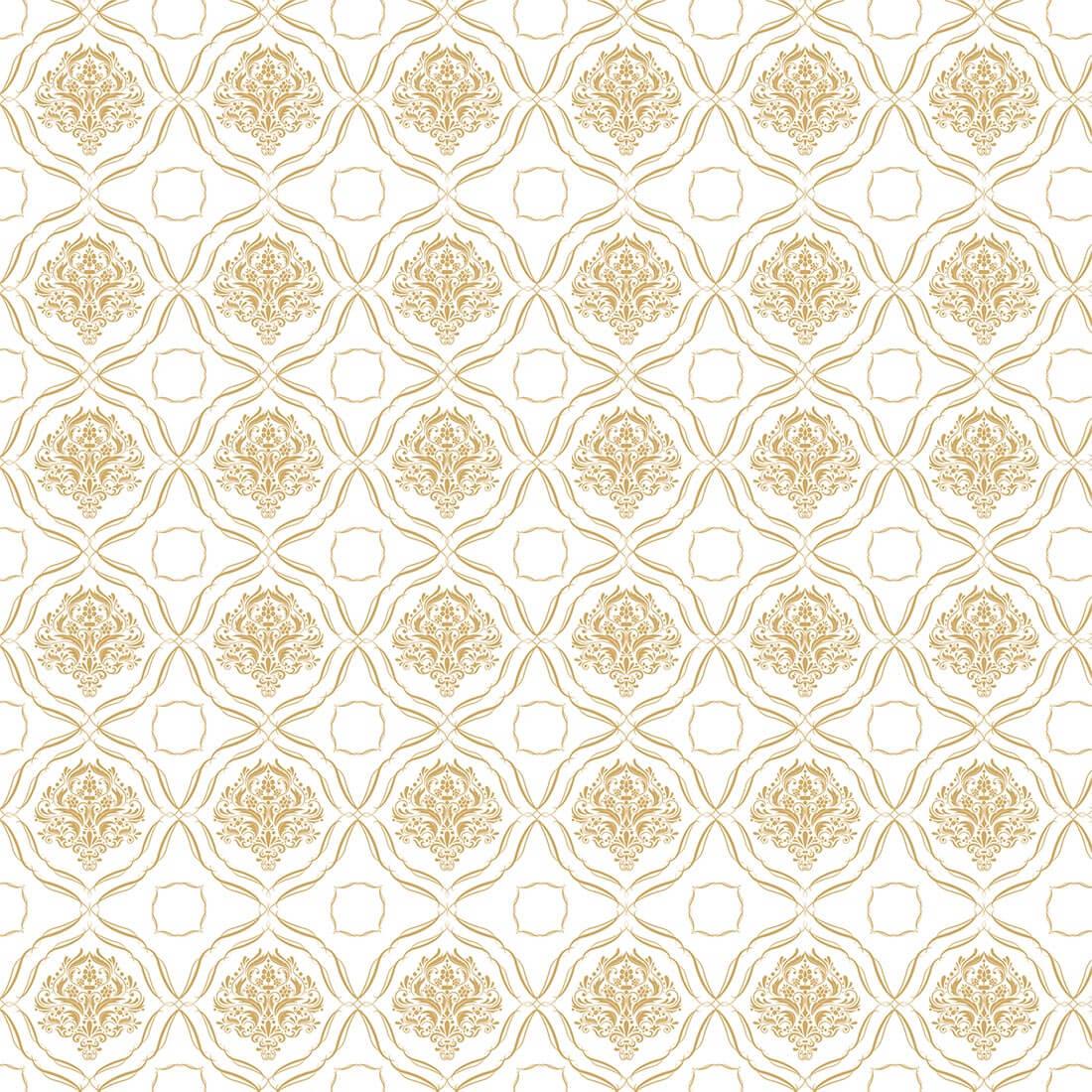 Papel de Parede Arabesco Jacquard Ouro Envelhecido Sobre Branco
