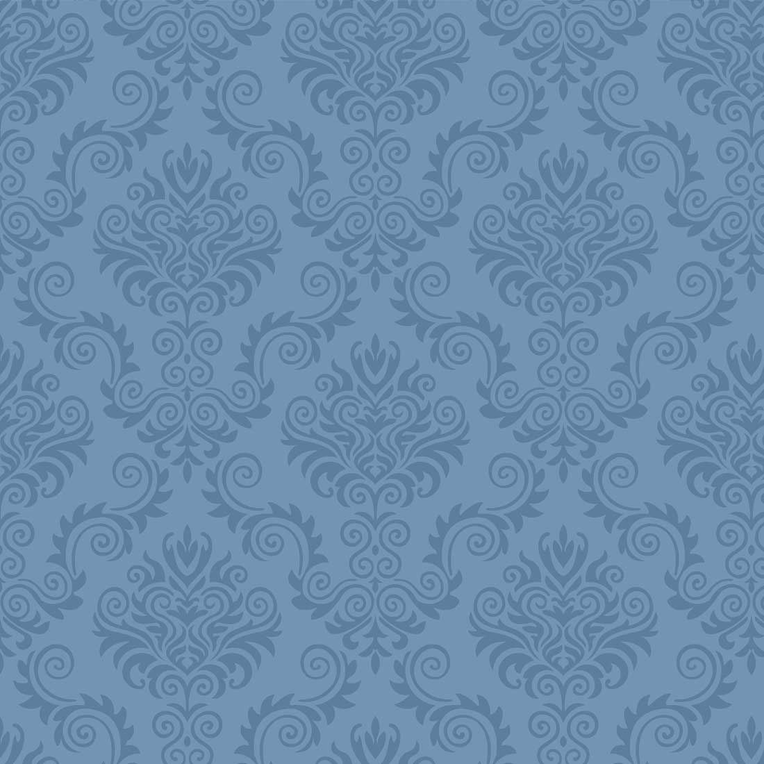 Papel de Parede Arabesco Vintage Abstrato Jacquard Azul