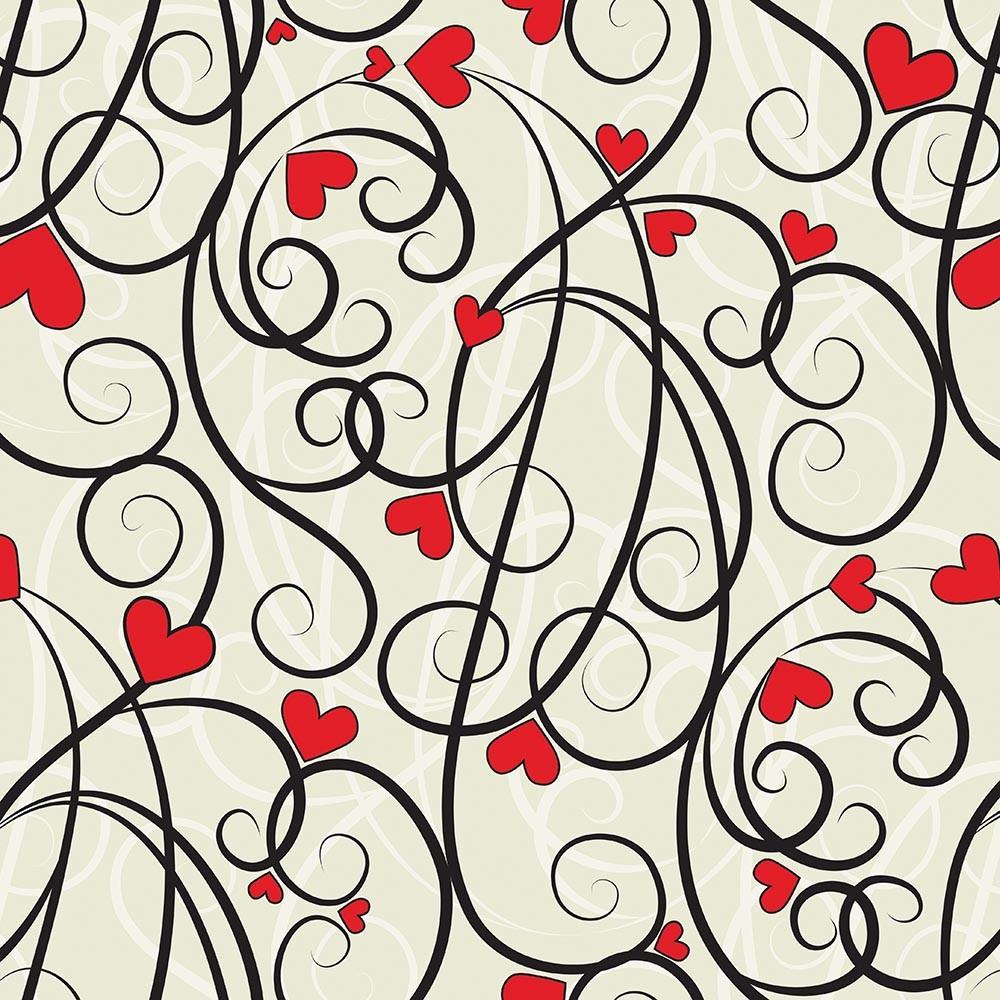Papel de Parede Arabesco Vintage Love Coração Vermelho