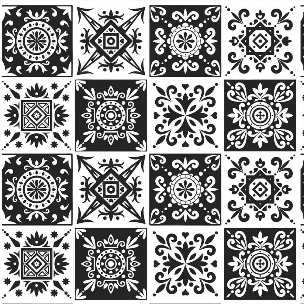 Papel de Parede Azulejo Marroquino Tons de Cinza