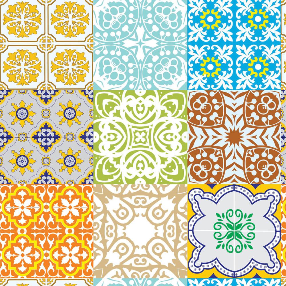 Papel de Parede Azulejo Português Coloridos
