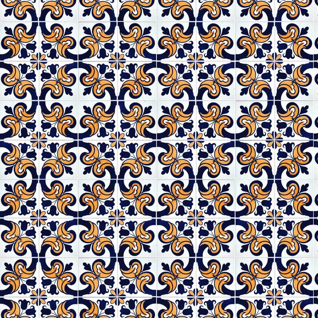 Papel de Parede Azulejo Português em Tons de Azul