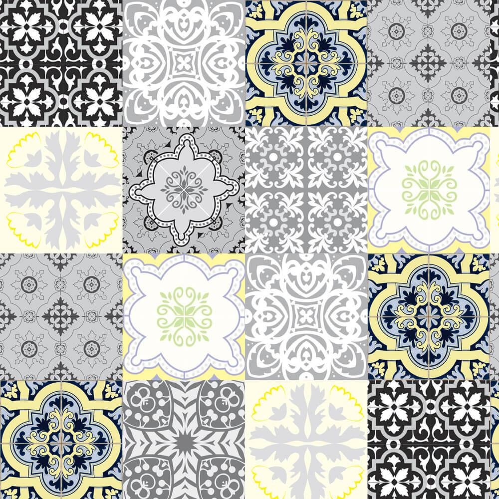 Papel de Parede Azulejo Português Tons de Cinza e Amarelo