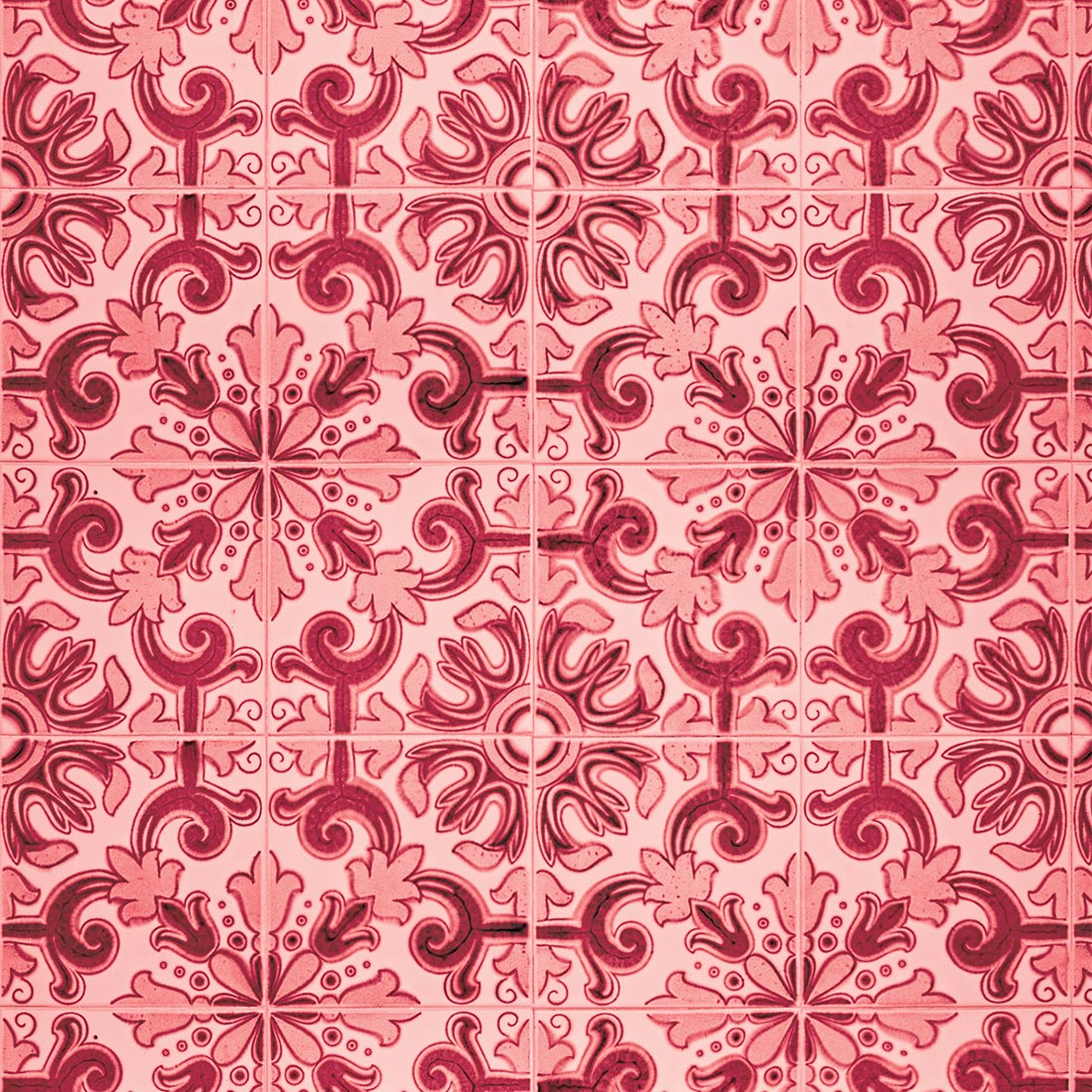 Papel de Parede Azulejo Vintage Abstrato Vermelho