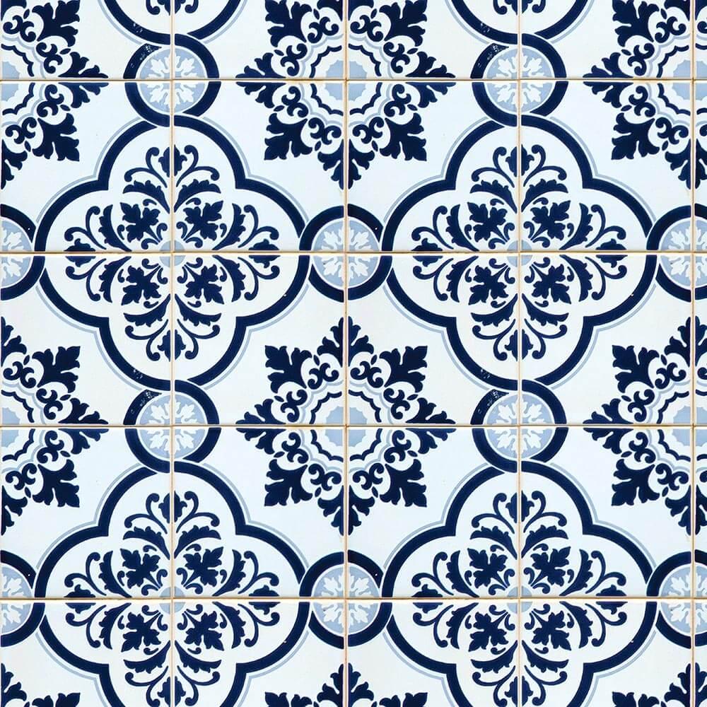 Papel de Parede Azulejos Português em Tons de Azul