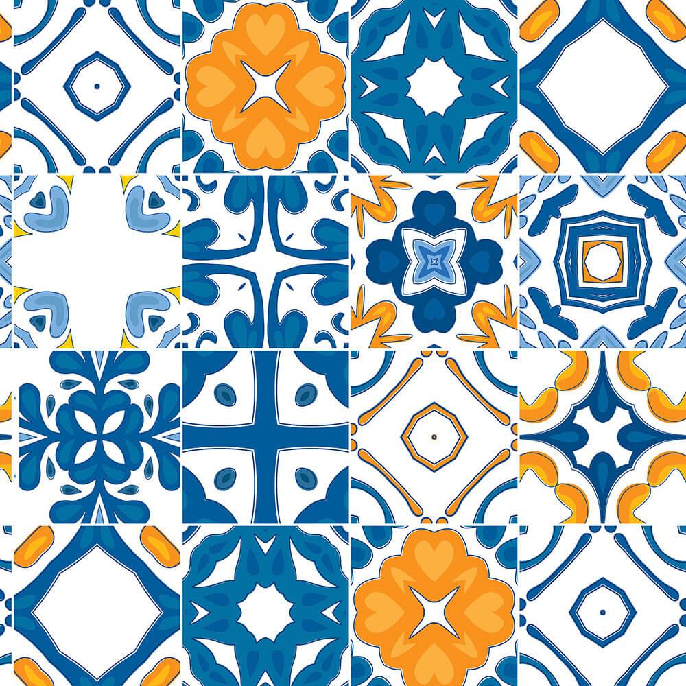 Papel de Parede Azulejos Variados em Azul e Amarelo Ouro