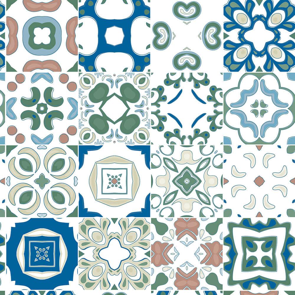 Papel de Parede Azulejos Variados em Cores Frias