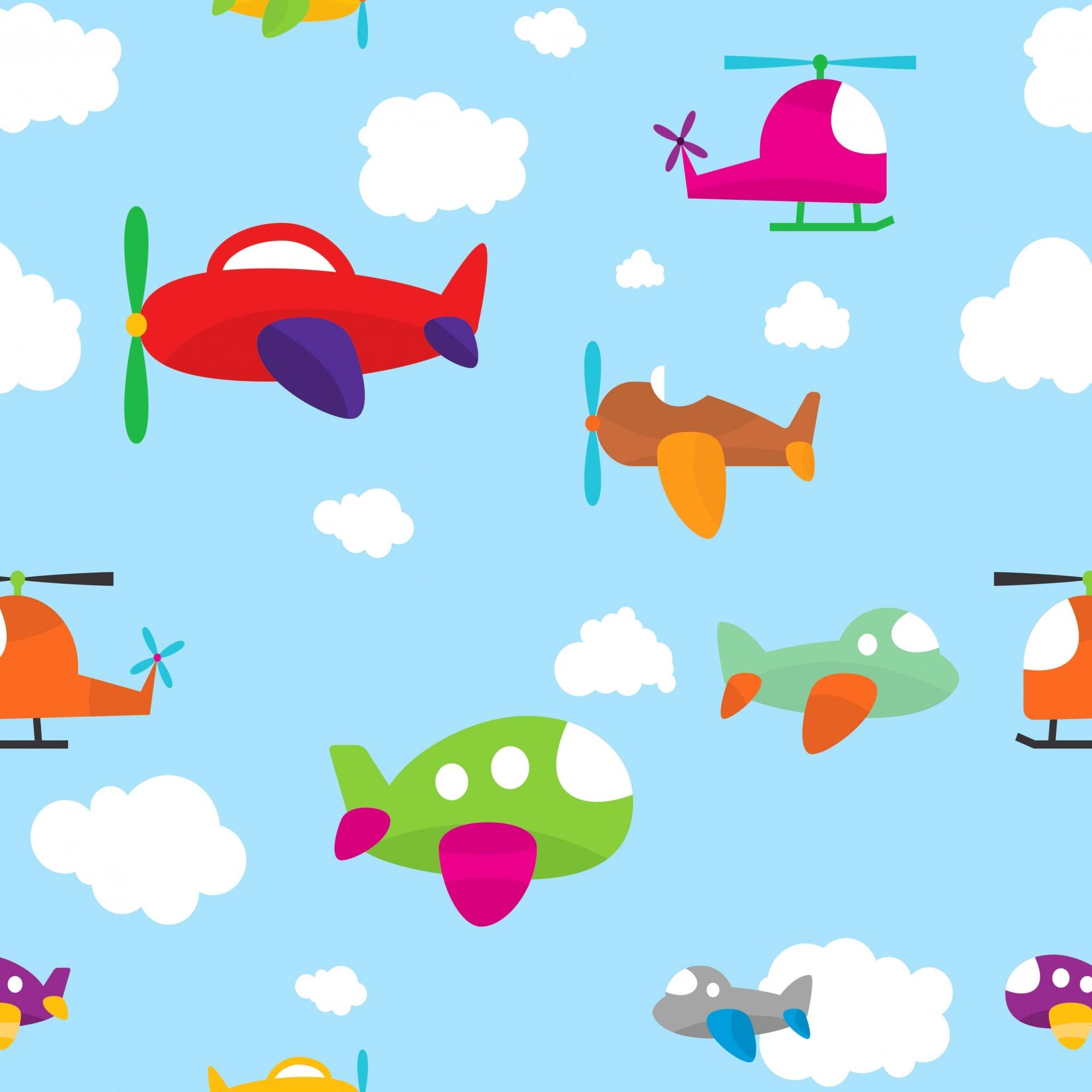 Papel de Parede Baby Avião Céu Azul