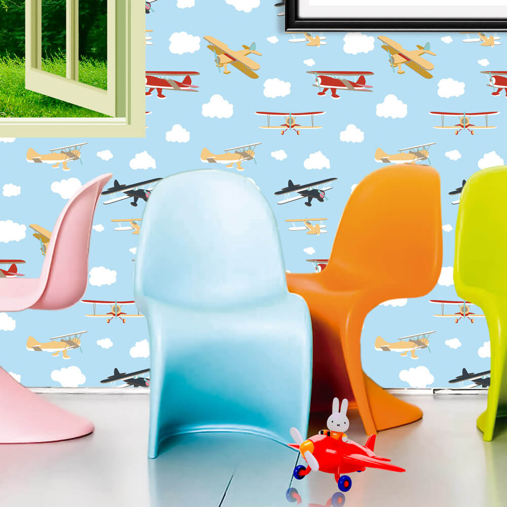 Papel de Parede Baby Aviões