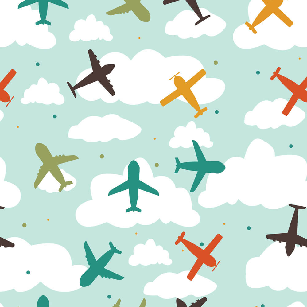 Papel de Parede Baby Aviões Coloridos