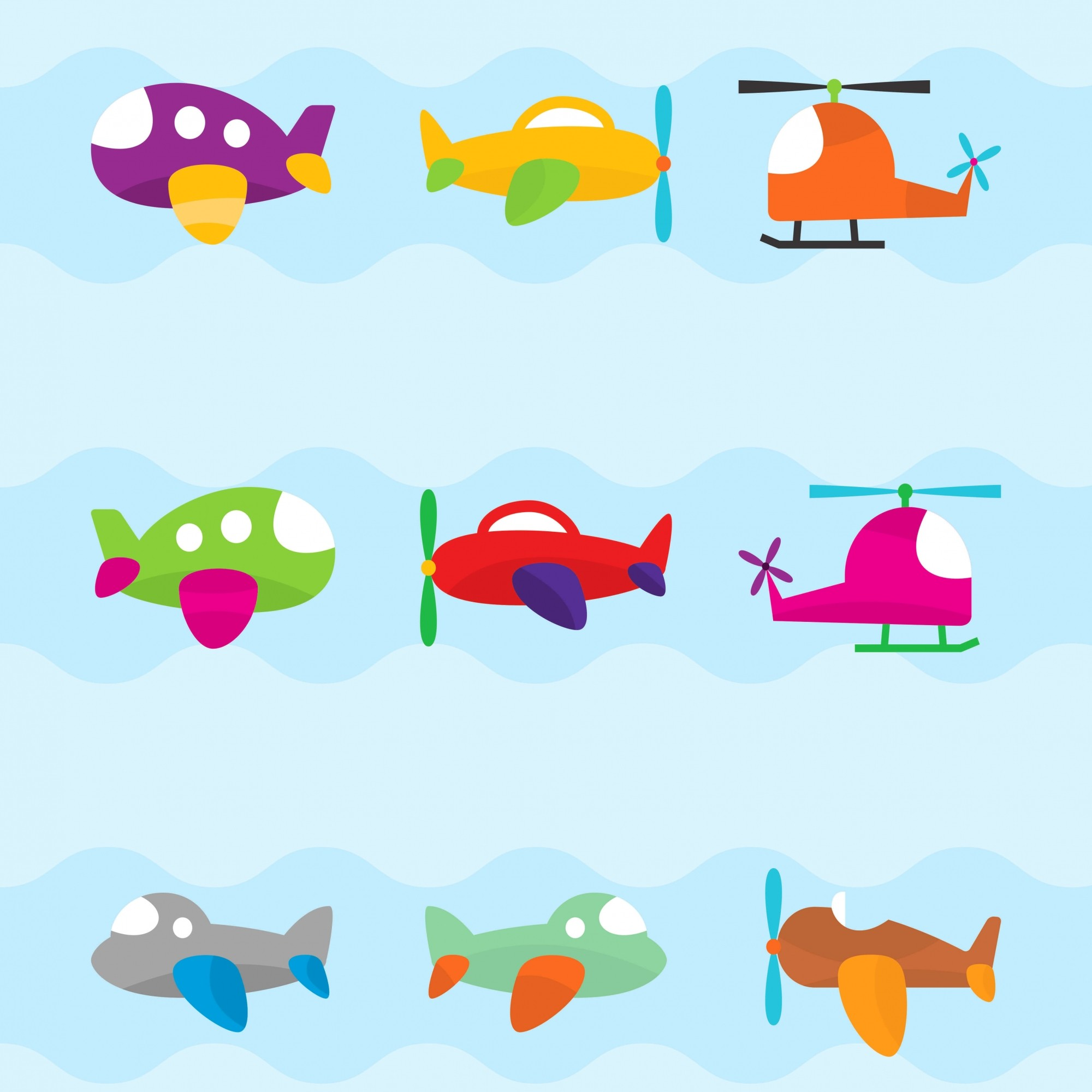 Papel de Parede Baby Aviões Coloridos Fundo Azul