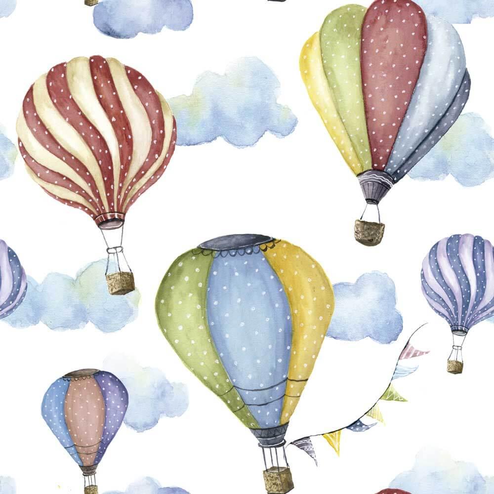 Papel de Parede Baby Balões Coloridos e Nuvens