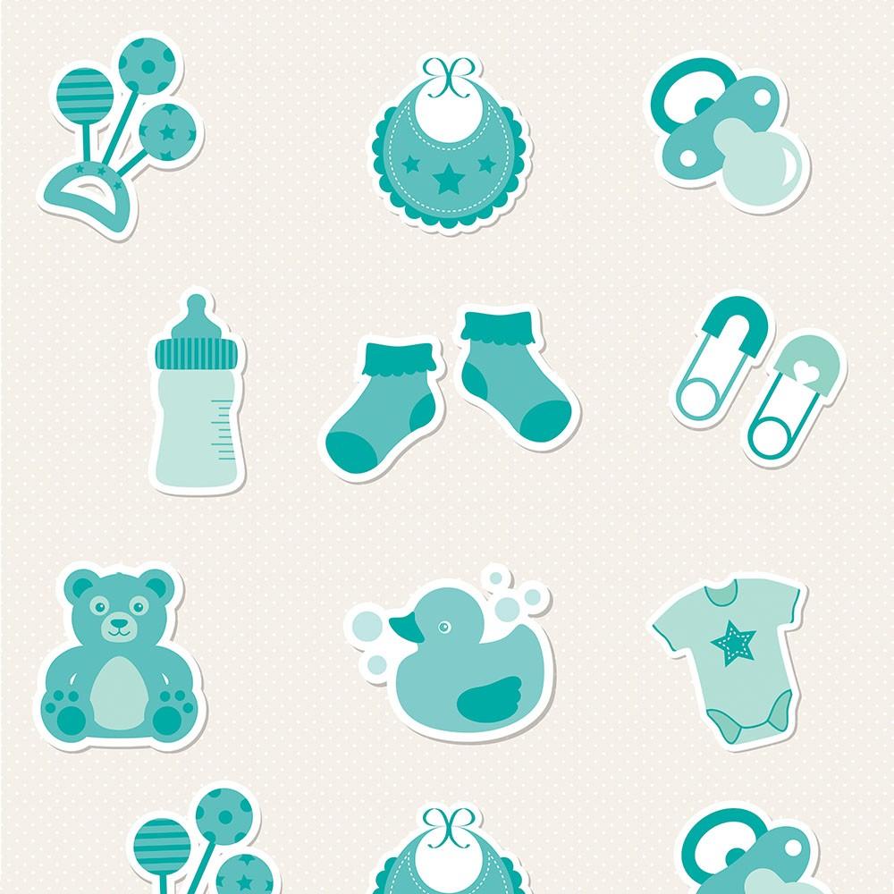 Papel de Parede Baby Bebê Verde Água Fundo Poa