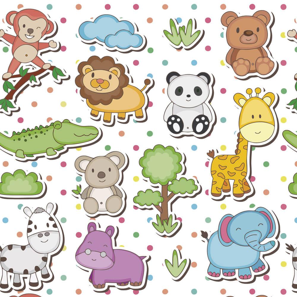 Papel de Parede Baby Bichinhos, Elefante, Girafa, Leão, Zebra, Jacaré, Macaco e Urso