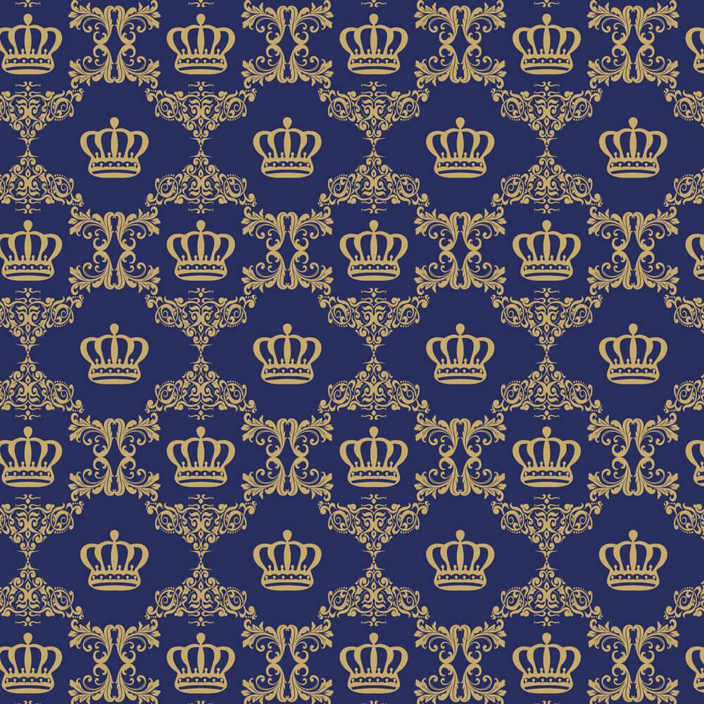 Papel de Parede Baby Coroa Azul Jeans