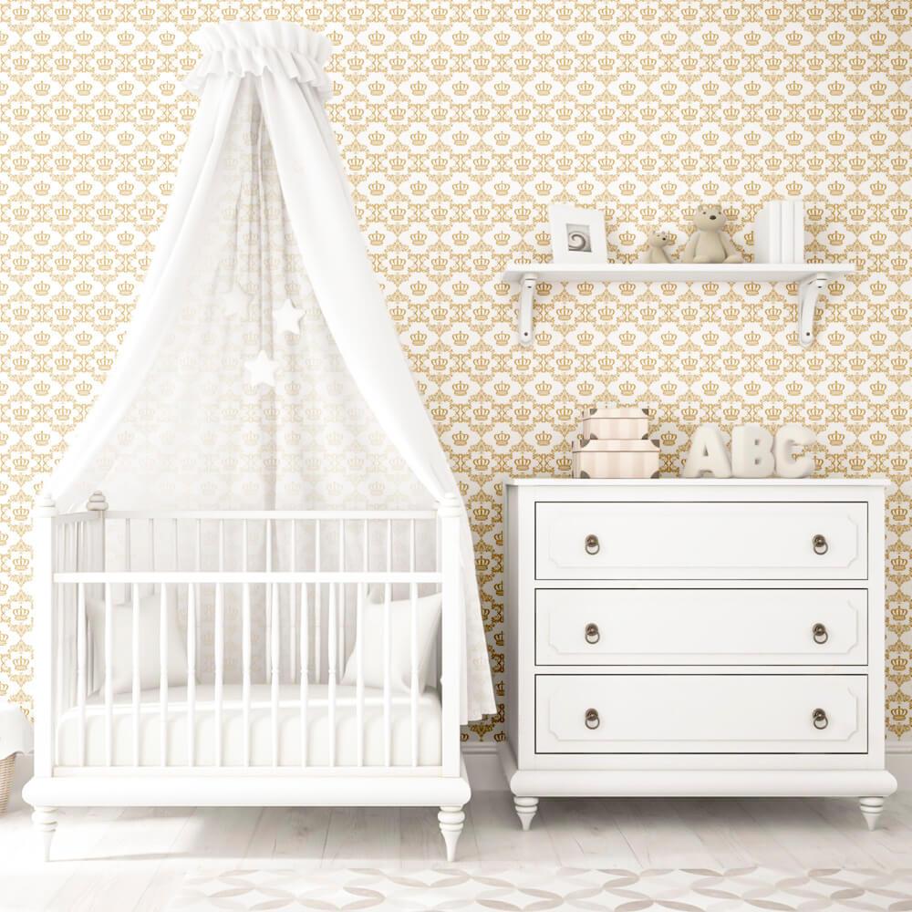 Papel de Parede Baby Coroa Dourada