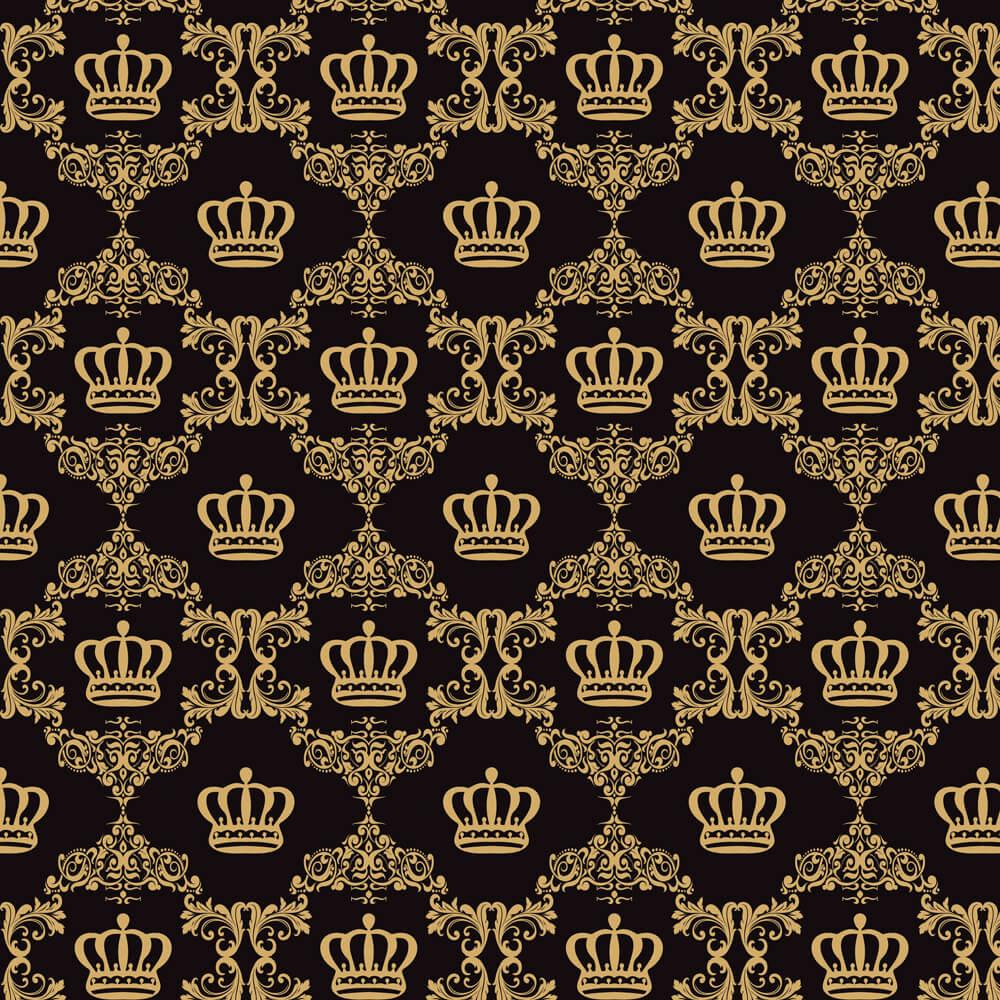 Papel de Parede Baby Coroa Dourada Fundo Preto