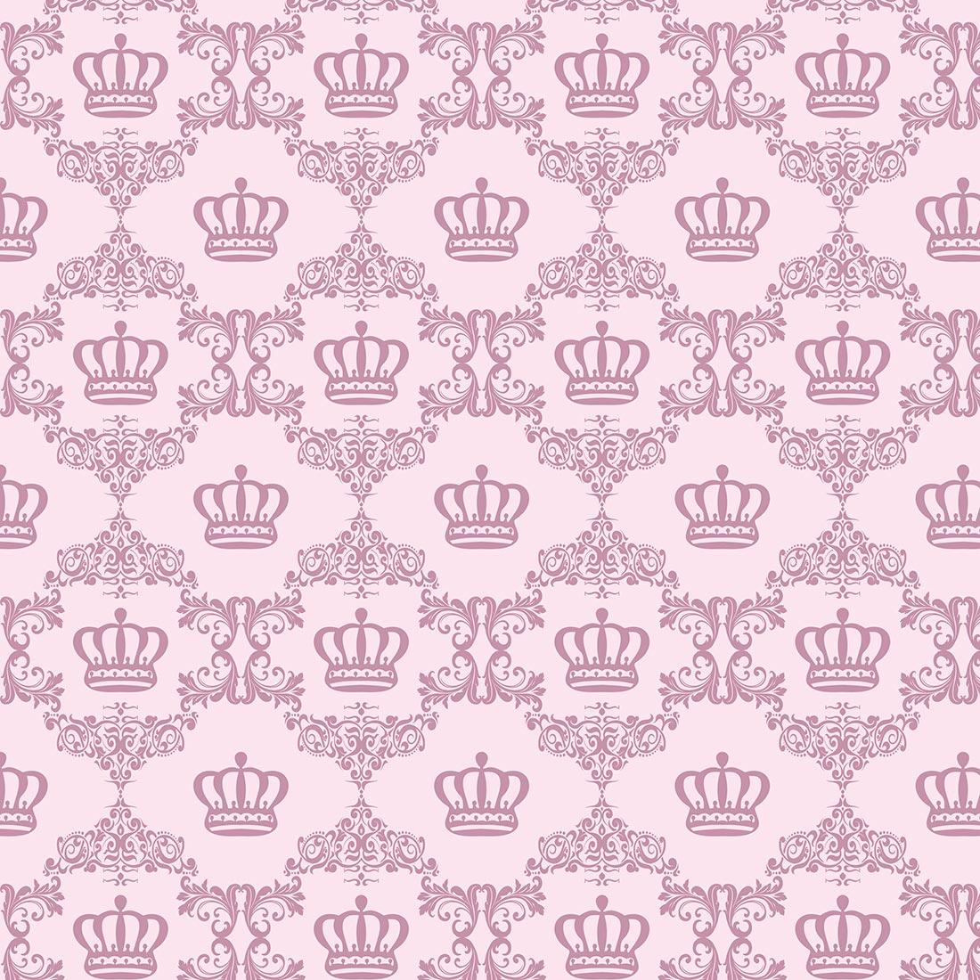 Papel de Parede Baby Coroa e Arabesco Rosa